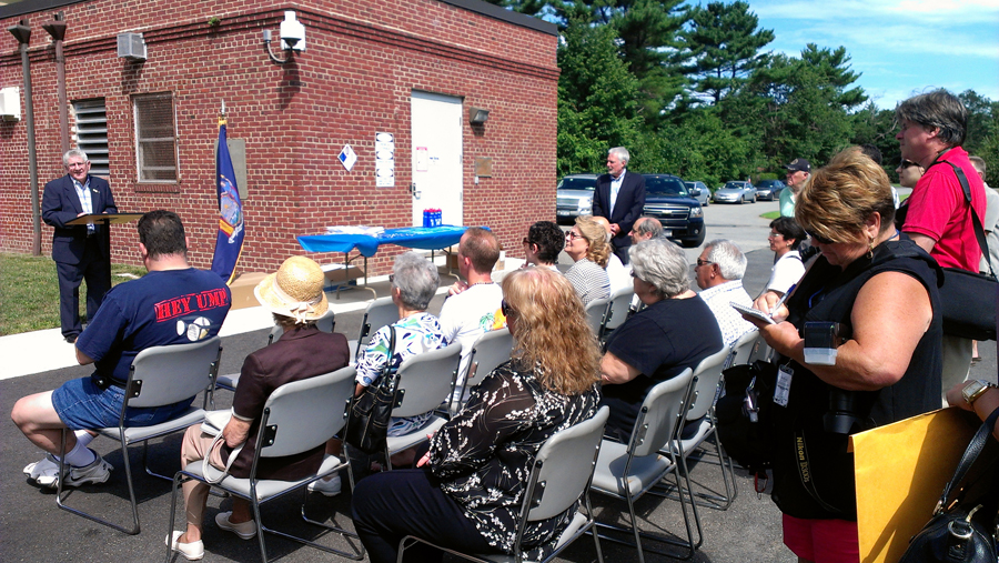 Hicksville Water District Board of Commissioners Chairman Nicholas Brigandi welcomes the residents, elected officials and civic association members to the symbolic ribbon cutting celebrating the renovations at Plant #6 on Kuhl Avenue in Hicksville, NY.