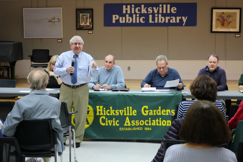 Hicksville Water District Commissioner Nicholas J. Brigandi addresses questions from concerned residents of the Hicksville Gardens Civic Association.